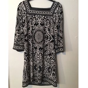 Loft: square neck paisley dress